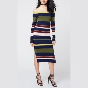 Rachel Roy Off The Shoulder Midi Sweater Dress NWT
